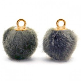 Pompom 12mm Dark grey-gold