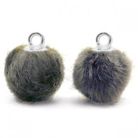 Pompom 12mm Dark grey-silver
