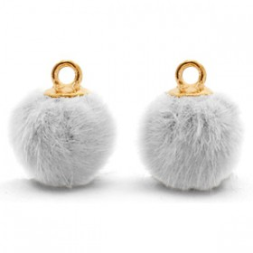 Pompom 12mm Light grey-gold