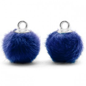 Pompom 12mm Denim blue-silver