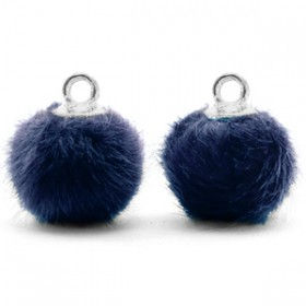 Pompom 12mm Dark blue-silver