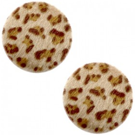 Faux fur cabochon 20mm leopard Brown