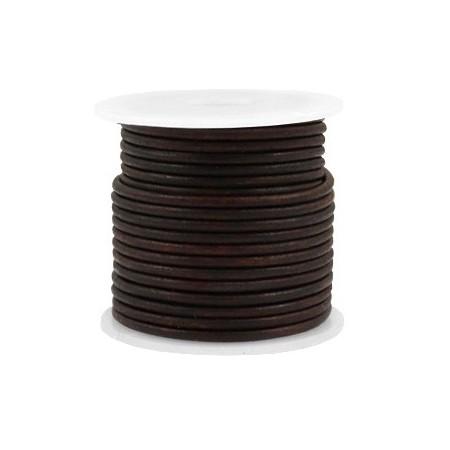 DQ leer rond 2 mm Vintage auburn brown