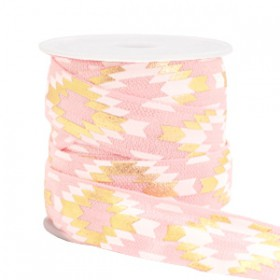 Elastisch lint 15mm aztec Light pink