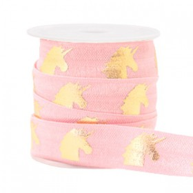 Elastisch lint 15mm unicorn Light pink