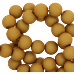 Acryl kralen mat rond 8mm Golden mustard green