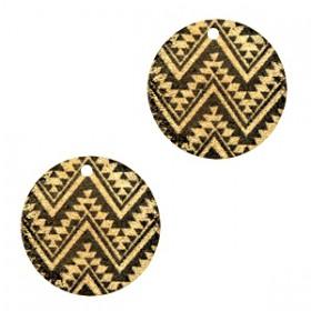 Metaal hanger rond aztec Black-gold