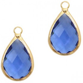 Facethanger druppel 10x14mm Blue crystal-gold