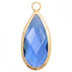 Facethanger druppel 10x20mm Blue crystal-gold