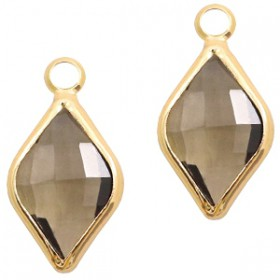 Facethanger rhombus 10x14mm Greige crystal-gold