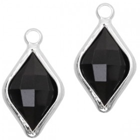 Facethanger rhombus 10x14mm Jet black-silver