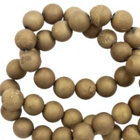 Half edelsteen kralen rond 6mm Agaat Antique gold metallic