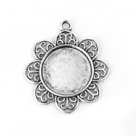 Basic hanger met setting voor cabochon 25mm bloemvorm Antiek zilver