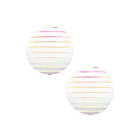 cabochon 20mm basic stripe White holographic