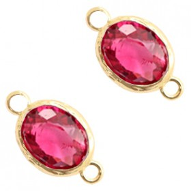 Facet tussenstuk ovaal 10x8mm Indian pink crystal-gold