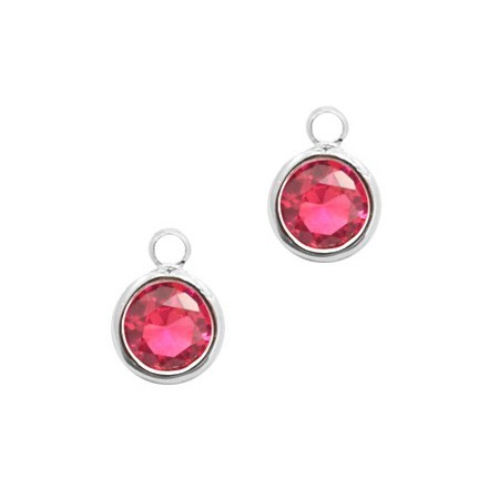 Facethanger rond 6mm Indian pink crystal-silver
