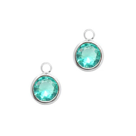 Facethanger rond 6mm Emerald blue zircon crystal-silver