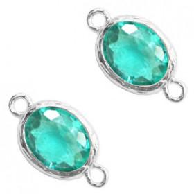 Facet tussenstuk ovaal 10x8mm Emerald blue zircon crystal-silver