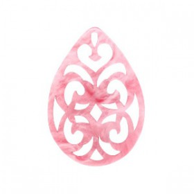 Resin hanger druppel barok 38x27mm Mellow rose