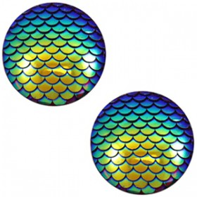 cabochon 12mm basic mermaid Cobalt blue holographic