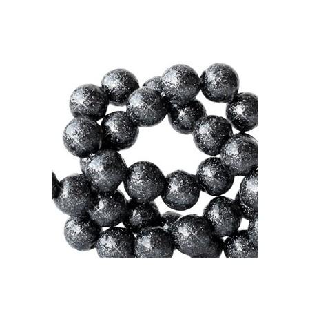 Acryl kralen glitter 6mm Anthracite