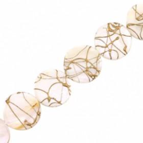Schelp kralen rond 20mm plat gold line Beige white