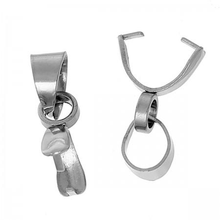 Hanger bail clamps  met ring 304 Stainless steel zilverkleur