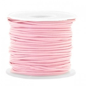 DQ Leer rond 1 mm Blossom pink metallic