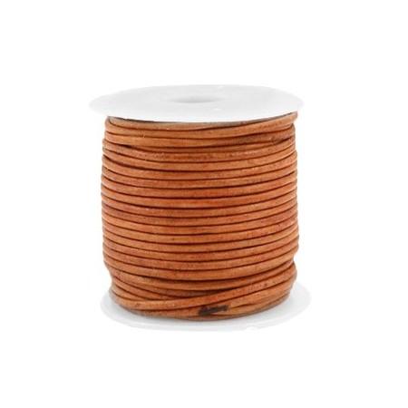 DQ leer rond 1 mm Vintage copper brown