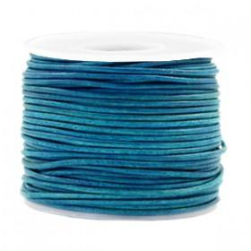 DQ leer rond 1 mm Vintage aqua dazzle blue