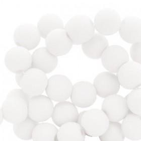 Acryl kralen mat rond 6mm White