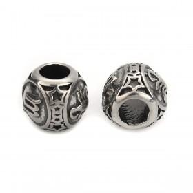 RVS ronde zodiac kralen Scorpion Zilver