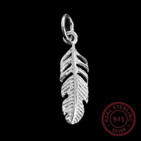 Sterling Silver 925 bedeltje veertje met ring