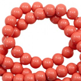 Glaskraal 8 mm opaque Dusty red-orange