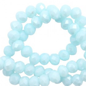 Facet kralen 4x3 mm disc Island paradise blue-pearl shine coating