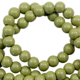 Glaskraal 6 mm opaque Olive green