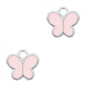 Bedeltje vlindertje Zilver-Pink