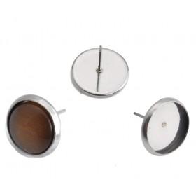RVS oorstekers voor 8mm cabochon stainless steel Zilver