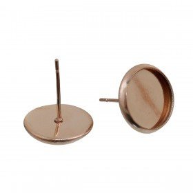 RVS oorstekers voor 8mm cabochon stainless steel Rose gold