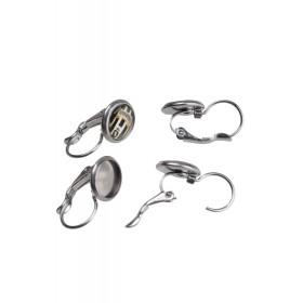 RVS klap oorbellen voor 8mm cabochon stainless steel Zilver