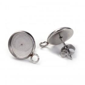 RVS oorstekers met oog voor 8mm cabochon stainless steel Zilver