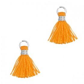 Kwastjes 1cm Zilver Flame orange