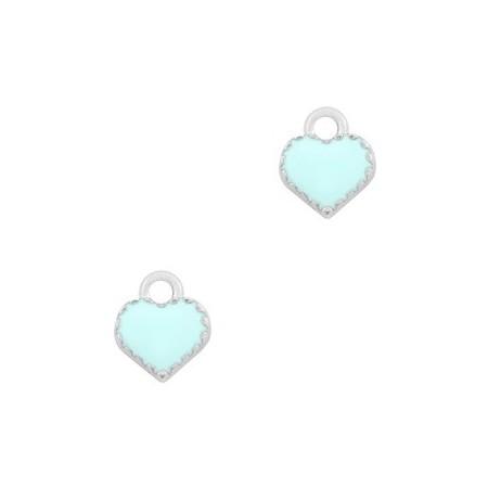 Bedeltje hart Zilver-Light blue