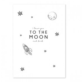 """Sieraden wenskaart """"I love you to the moon and back"""" White"""