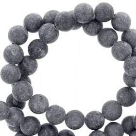 Natuursteen mountain jade rond mat 6mm Anthracite grey