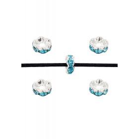 Rondellen met Strass 6mm Silver-Aquamarine