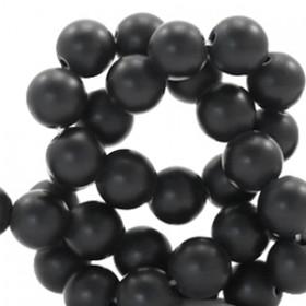 Natuursteen jade ronde kralen 6mm Matt black
