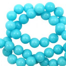 Natuursteen jade ronde kralen 6mm Aqua blue