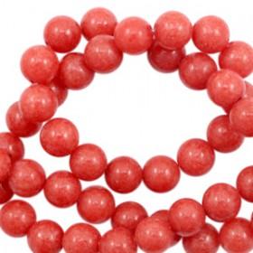 Natuursteen jade ronde kralen 6mm Rose red