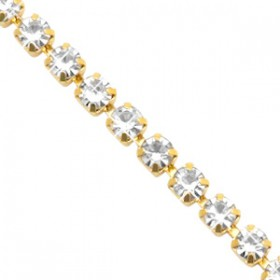 Cup chain 3mm Crystal-gold